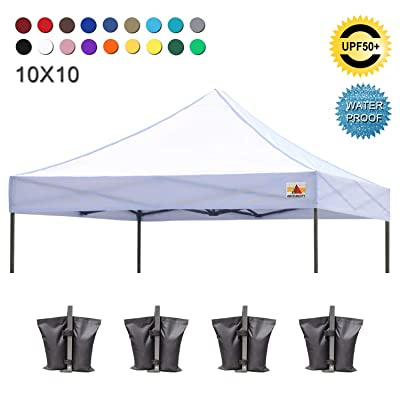 ABCCANOPY Pop Up Canopy Replacement Top Cover 100% Waterproof Choose 18+ Colors, Bonus 4 x Weight Bags (White) : Garden & Outdoor