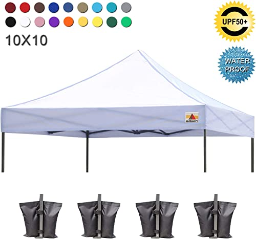 ABCCANOPY Commercial Pop up Canopy Tent Instant Shelter with Wheeled Roller Bag, Bonus 4 Canopy Weight Bags, 10×10 FT Blue