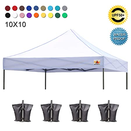 ABCCANOPY Pop Up Canopy 10×10 Replacement Canopy Cover 100 Waterproof Choose 18 Colors, Bonus 4 x Weight Bags