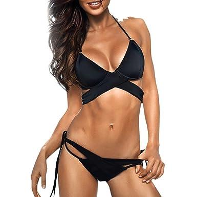 Bbring Bikini Womens Swimwear Sexy Halter Neck Cut Out Triangle