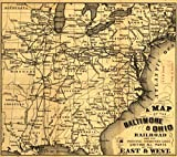 Map: 1860 A of the Baltimore & Ohio Railroad and its principal connecting lines uniting all parts of the East & West. Outline of the eastern half of the United States to about the 95th Meridian. [From