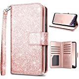 (US) Samsung S9,Galaxy S9 Wallet Case,Fingic Luxury Glitter Wallet Case Nickel Plated Press Stud[Cash Holder][Wrist Strap][Magnetic Snap Closure]Protective Cover for Samsung Galaxy S9 (5.8inch),Rose Gold