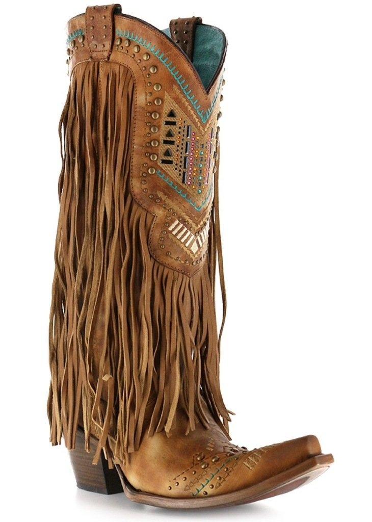 Corral Women's Aztec Long Fringe Cover Tan Cowboy Boots B00X6CXHFO 7 B(M) US|Tan/Multicolor