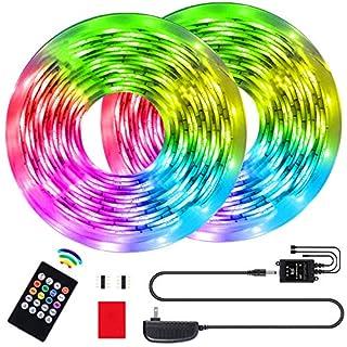 BINKBANG Led Strip Lights RGB Strip 32.8Ft/10M Flexible Rope Lights 300 LEDs SMD 3528 Music Sync Color Changing Tape Lights with 20 Keys IR Remote for Home, Bedroom, TV, Kitchen, Desk, Bar Decoration