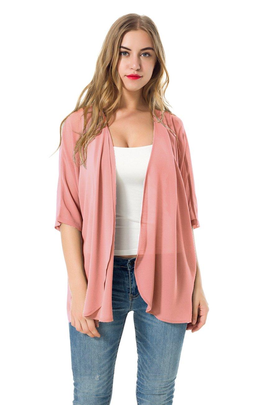 NB Women's Short Sleeve Beachwear Sheer Chiffon Kimono Cardigan Solid Casual Capes Beach Cover up Blouse (S, Pink)