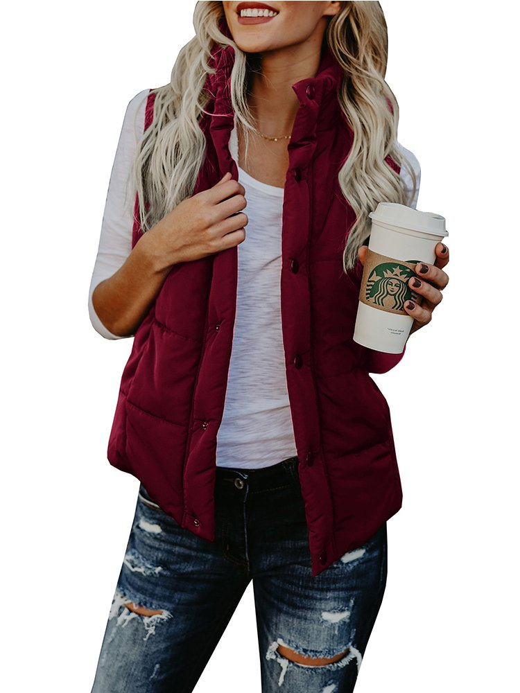 FISACE Women's styligh Packable Down Compact Vests Outdoor Puffer Vest Sportswear Jacket (Large, Wine Red)