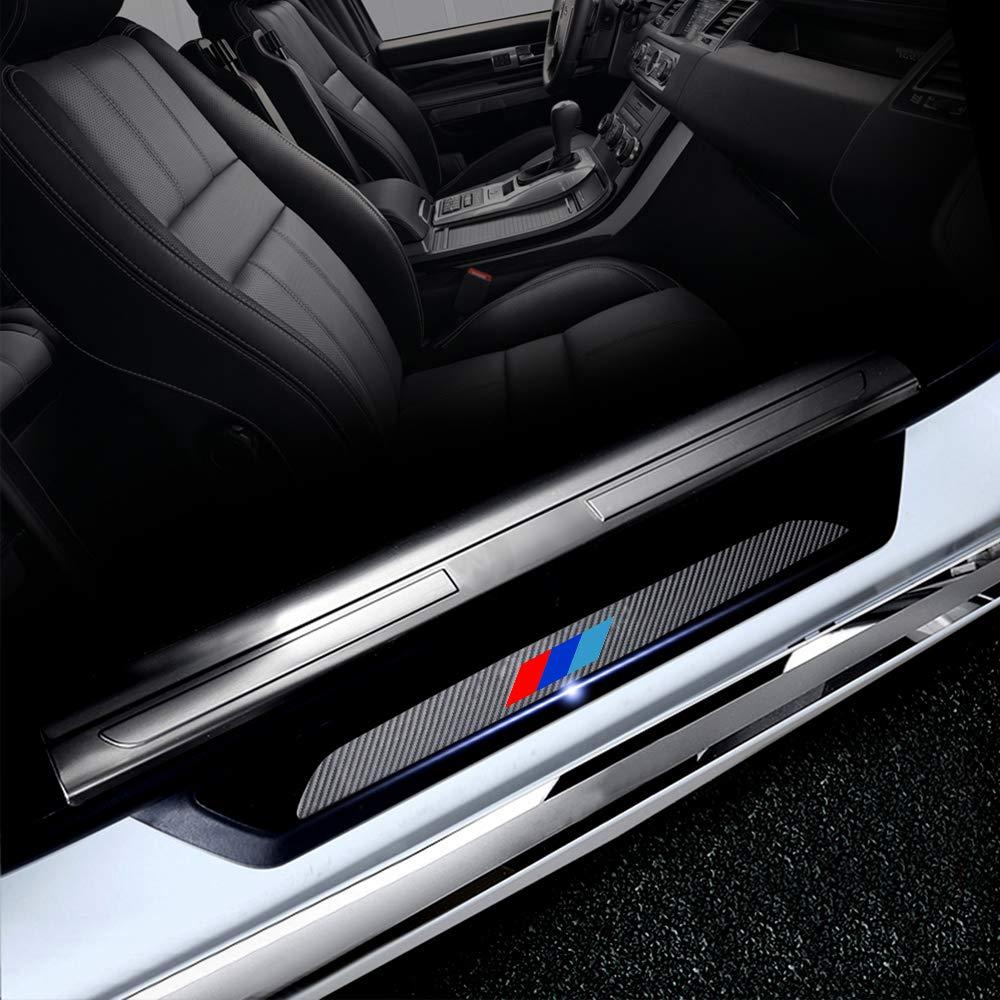 4D Carbon Fiber Door Entry Guards Paint Scratch Cover Protector for BMW X1 X3 X5 X6 X7 E83/E84 F25 E53 E70 E71 E72 HYB M Color Threshold Trim Stickers 4Pcs