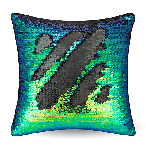 URSKYTOUS Reversible Sequin Pillow Case Decorative Mermaid Pillow Cover Color Changing Cushion Throw Pillowcase 16 x 16,Fancy Green and Black