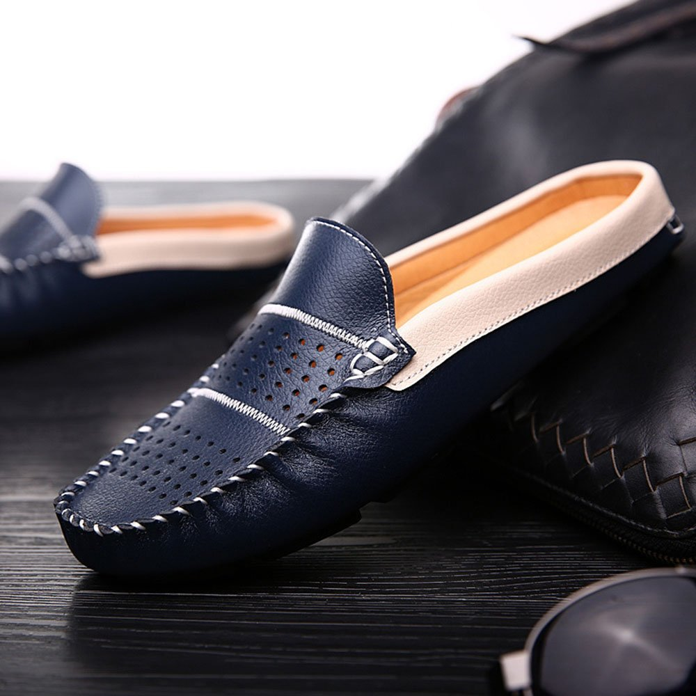 AFCITY Lazy Schuhe Atmungsaktive Klassischer Loch Hohl Männer Schuhe Klassischer Atmungsaktive Stiefelschuh Blau ad99a0