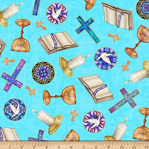 QT Fabrics Faith Religious Toss Fabric, Medium Aqua, Fabric By The Yard