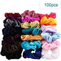 Docooler 100pcs Flannelette Elastic Hair Band For Women Headband Soft Velvet Scrunchies Elastic Hairbands Stretchy Multicolor Rubber Bands Hair Accessories