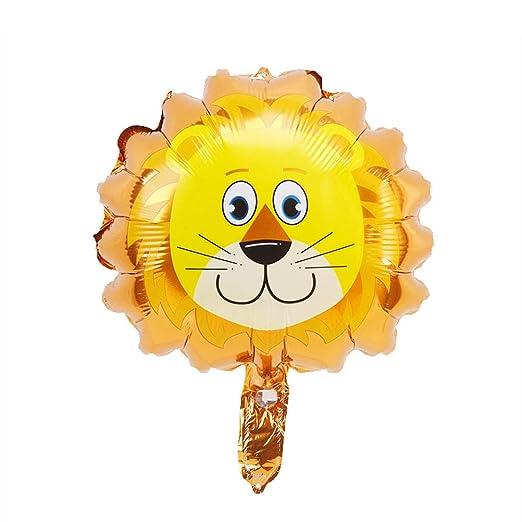 Amosfun 8 Unids Cabeza de Animal Globos metálicos Globos león Selva Zoo Animales Globos para Baby Shower Fiesta de cumpleaños decoración