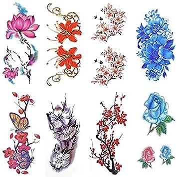 rosenice Tatuajes temporaires 8 hojas acuarela diseño tatuaje ...