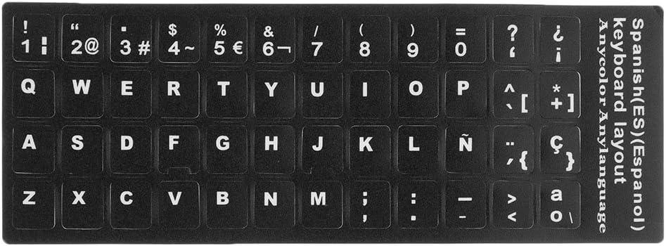 Sharplace Españolas Letras Pegatinas Etiqueta de Película de Teclado de Ordenador PC Portátil Protectora Electrónica de Consumo