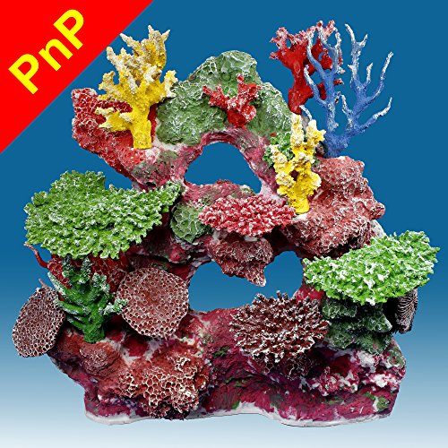 Instant Reef DM042PNP Large Artificial Coral Inserts Decor, Fake Coral Reef Decorations for Colorful Freshwater Fish Aquariums, Marine and Saltwater Fish Tanks