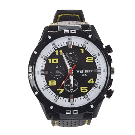 weij ieer 5020 Relojes para maenner - Recién Online silicona buegel banda beila eufige tipo maenner Reloj de pulsera Amarillo: Amazon.es: Relojes