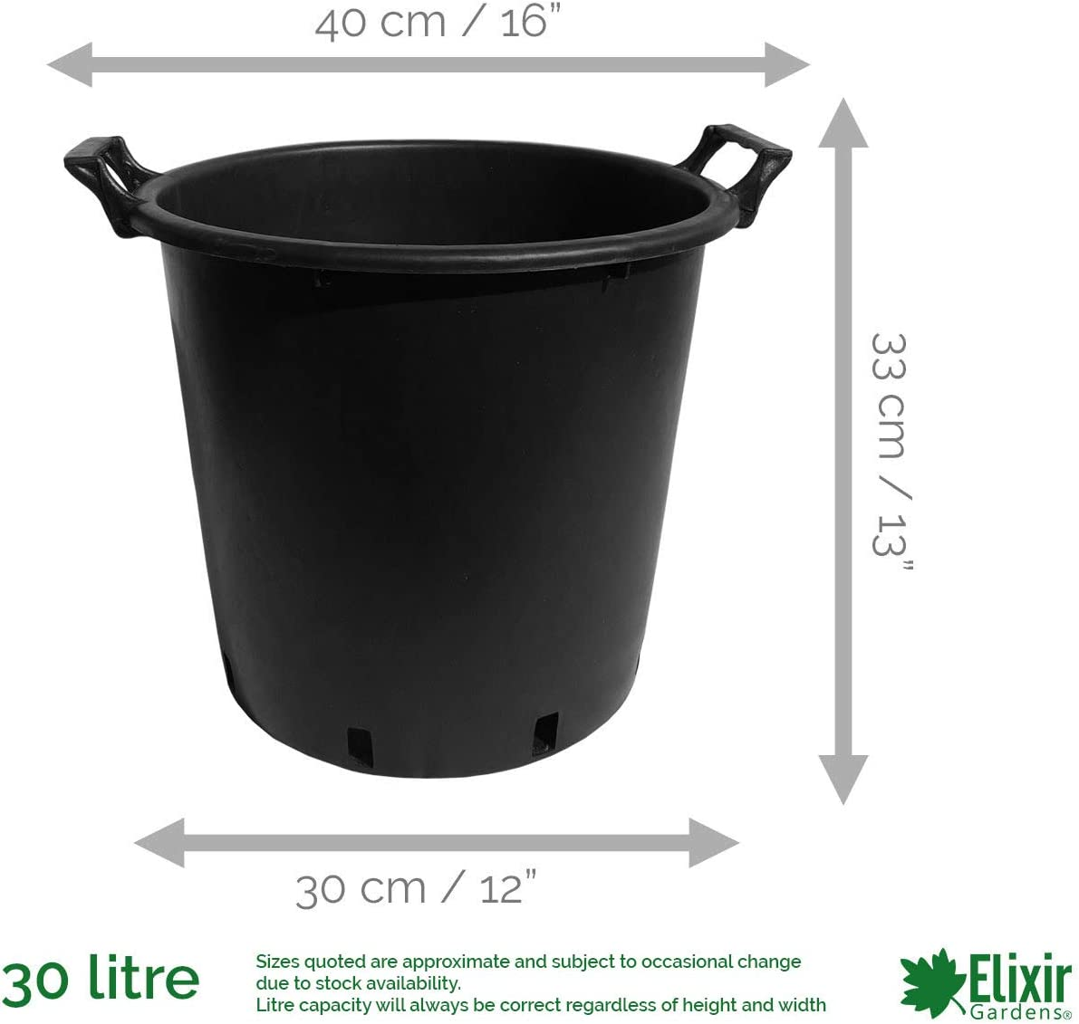 20 x 45 Litre Plant Tree Pot With Handles Heavy Duty 45L Lt Big Large Plastic