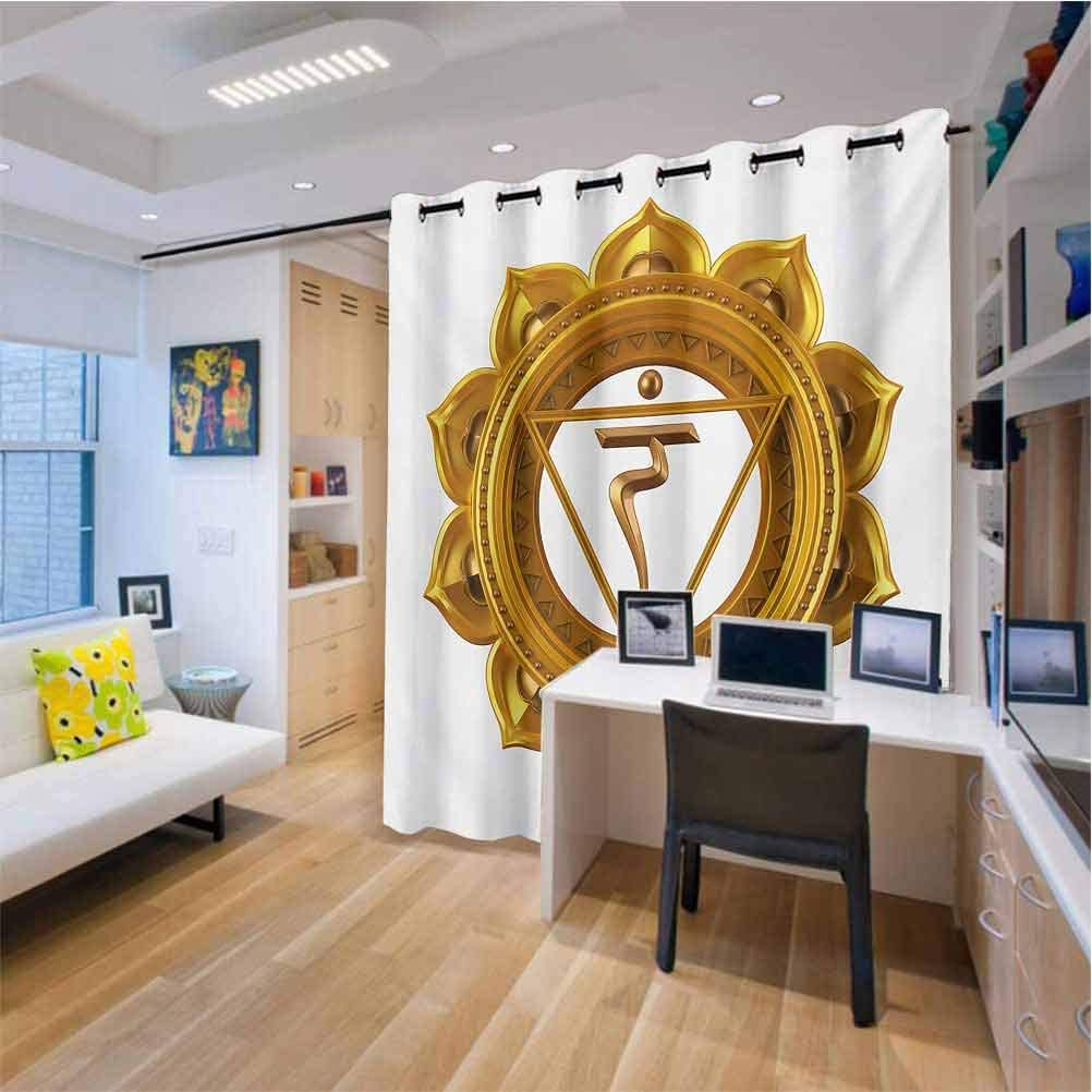 Drapes for Living Room Sliding Door W52 x L63 Inches Anahata Wheel with Star Pattern in The Middle Traditional Spiritual Graphic Work Chakra Sliding Door Insulated Drapes
