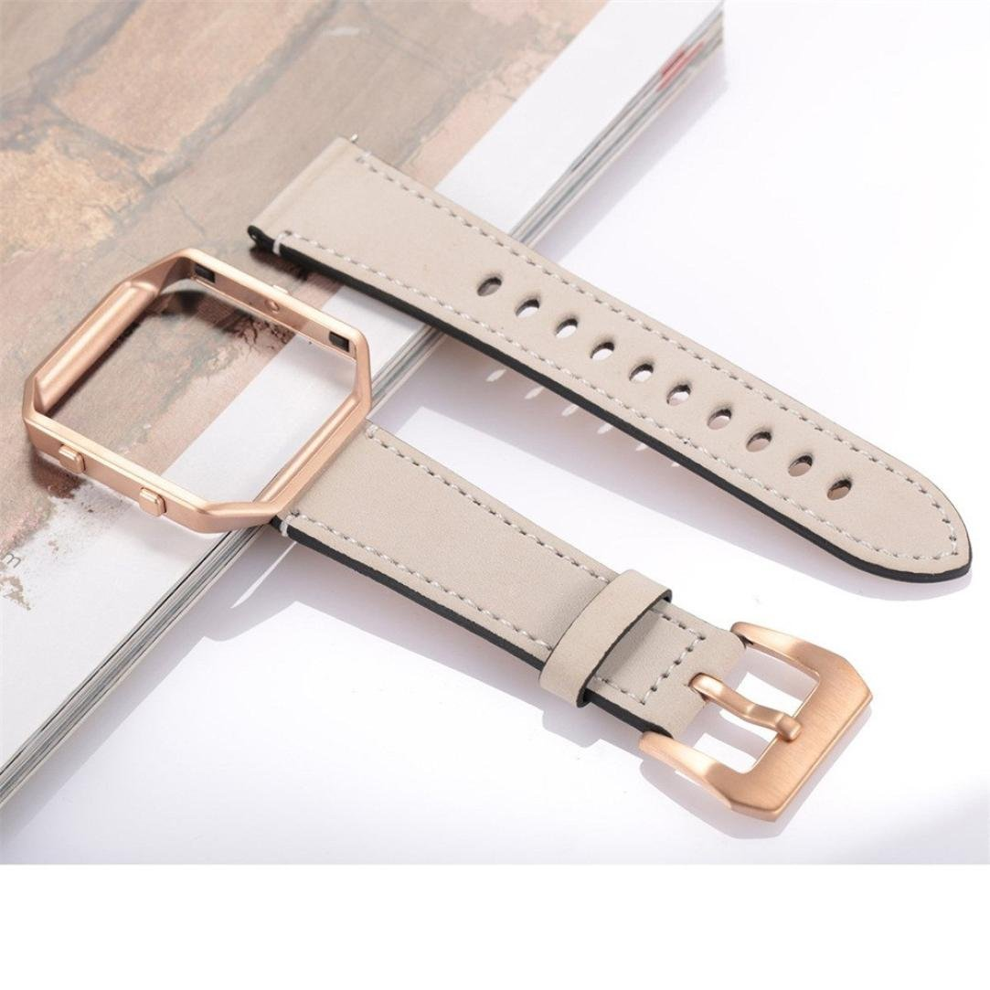Amazon.com: Charberry Luxury Leather Watch Band Wrist Strap+Rose gold Metal Frame For Fitbit Blaze Smart Watch (Beige): Charberry: Watches