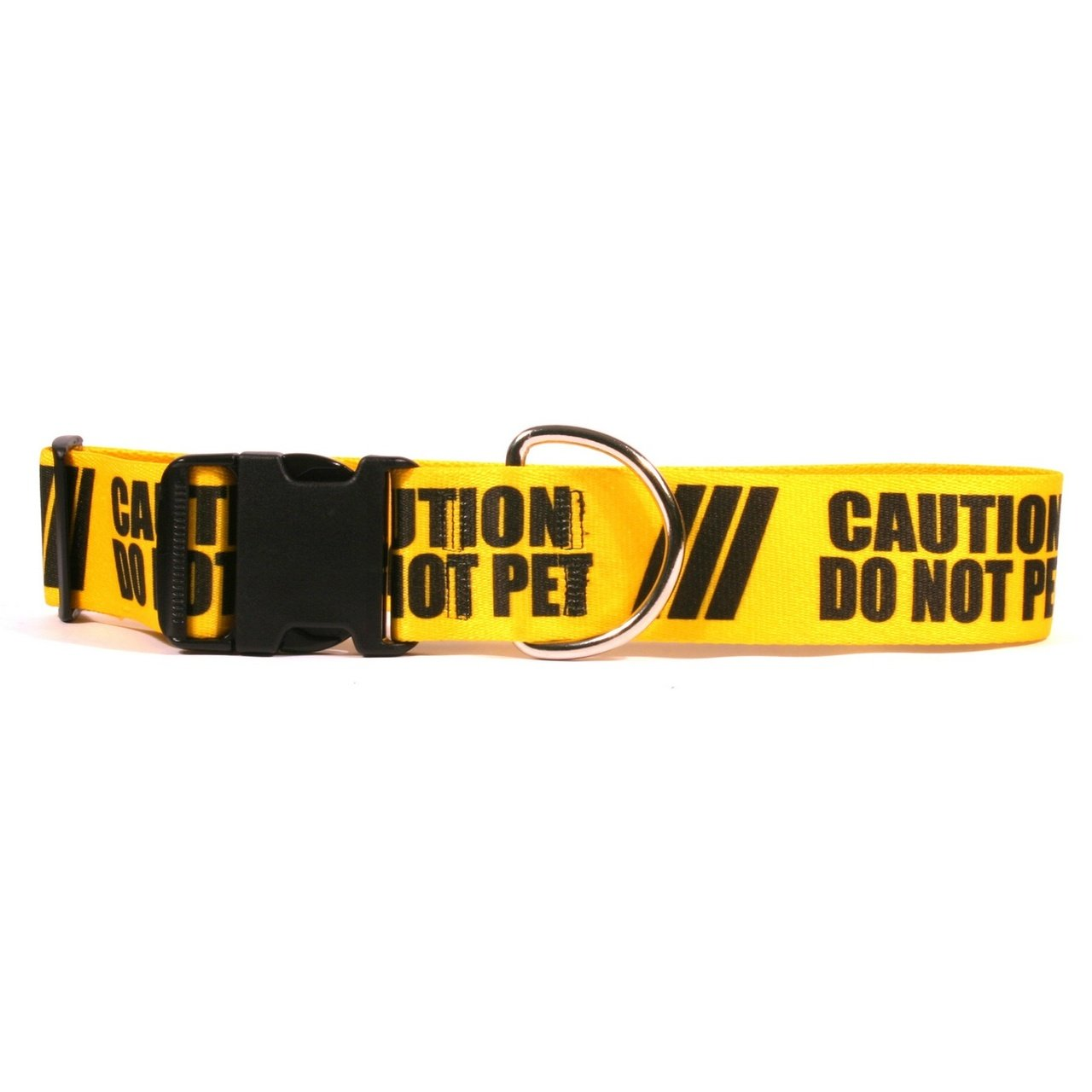 Yellow Dog Design 2'' Caution Do Not Pet Dog Collar 1'' Wide and Fits Neck 18 to 28'', Large