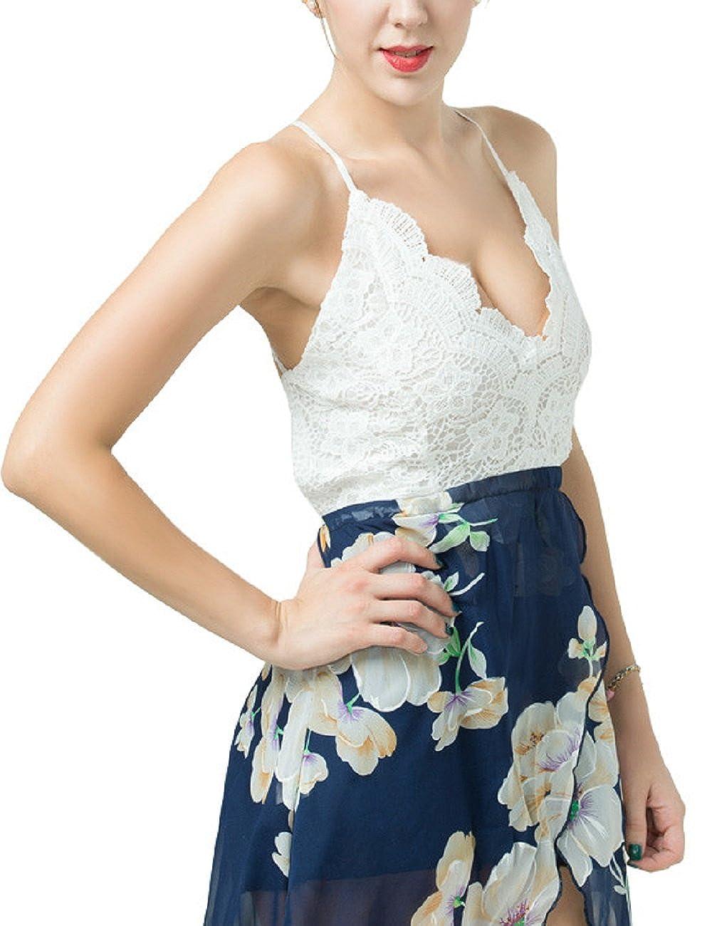 8bc8a36d6a LRUD Damen Bohemian Blumendruck Schulterfrei Knielang Strandkleid Schwarz  Weiß Sommerkleid Frauen Bademode: Amazon.de: Bekleidung