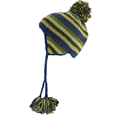 f7c89ff2660 Image Unavailable. Image not available for. Colour  WOOL KNIT EARFLAP  BOBBLE HAT FLEECE ...