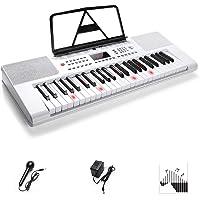Clavier de piano, clavier électronique Piano 49 touches avec guide de lumière, écran LCD avec micro, blanc