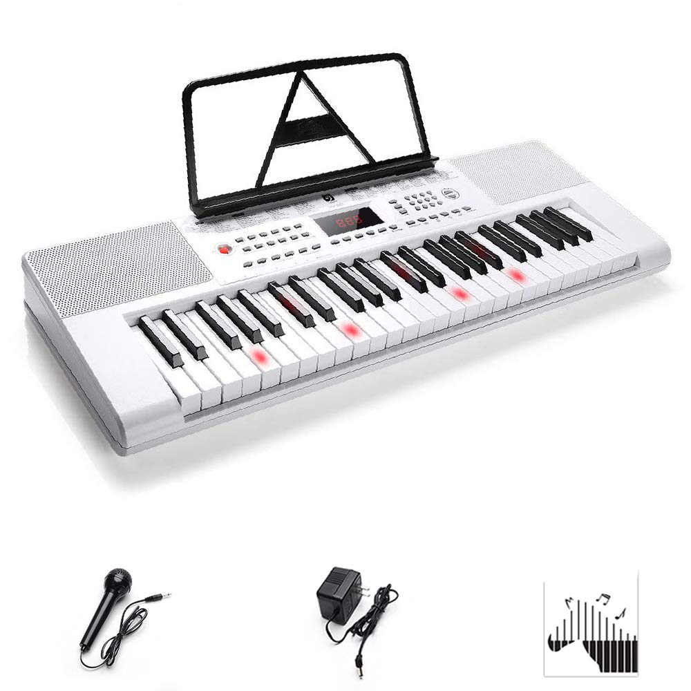 Electronic Keyboard Piano, 49-Lighted Key Electric Piano Keyboard with 3 Teaching Mode, Microphone, 200 Tones, 200 Rhythm, 50 Demo Songs, 5 Percussion, White by Vangoa