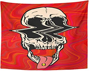 """Emvency 60""""x80"""" Tapestry Mandala Hippie Wall hangings Colorful Glitch LSD Psychedelic Skull of On Acid Trippy Red Pink Halloween Trip 60S Home Decor Tapestries for Bedroom"""