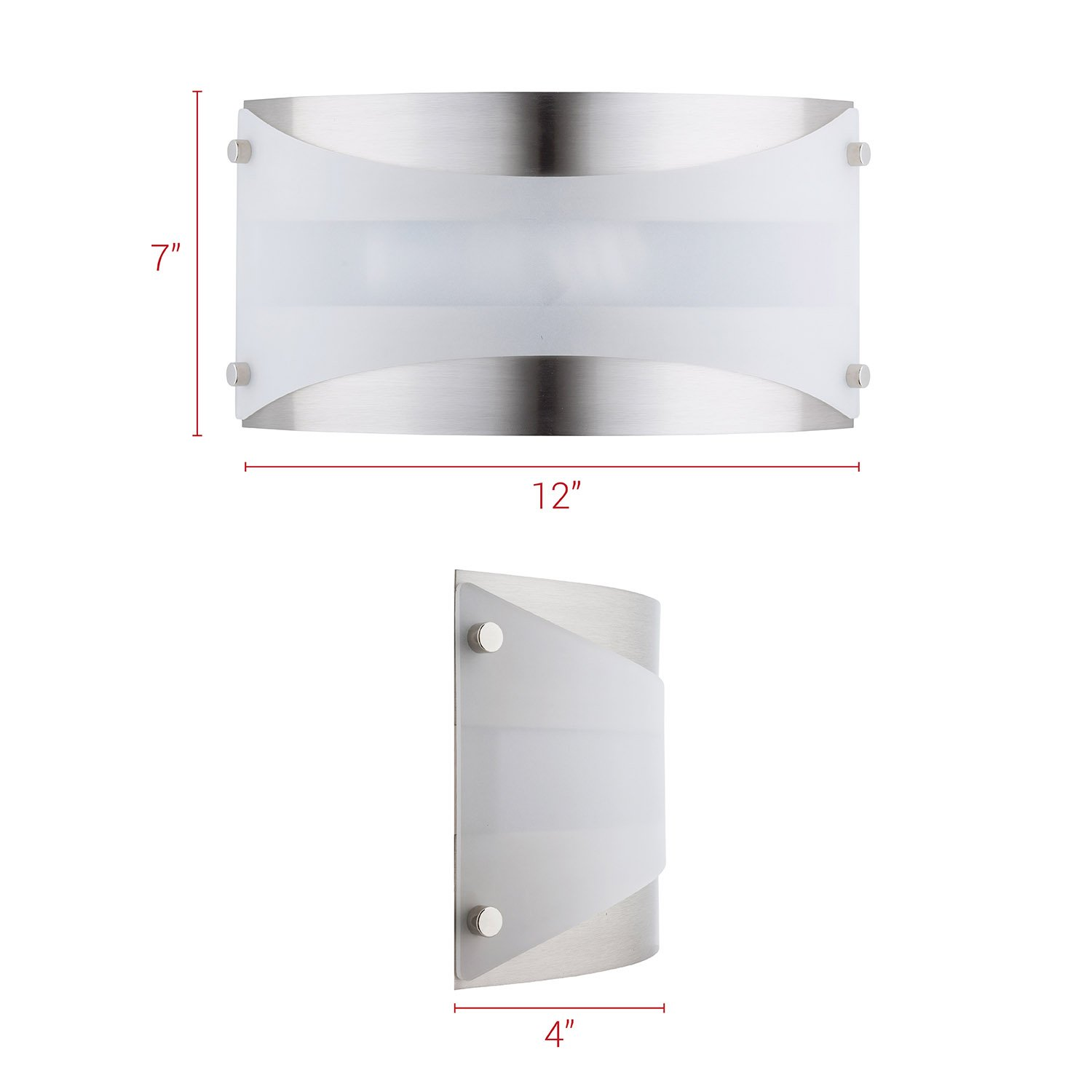 Acciaio Wall Sconce One-Light Lamp Brushed Nickel with White Diffuser - Linea di Liara LL-SC6-BN by Linea di Liara (Image #4)