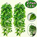 2 Pcs Artificial Hanging Plants Ivy Vine Fake Leaves Greeny Chain 3.2 Ft Fakes Plants Artificial Vines Green Leaf Garlands for Home Kitchen Garden Office Wedding Wall Indoor Outdoor Garland Decoration