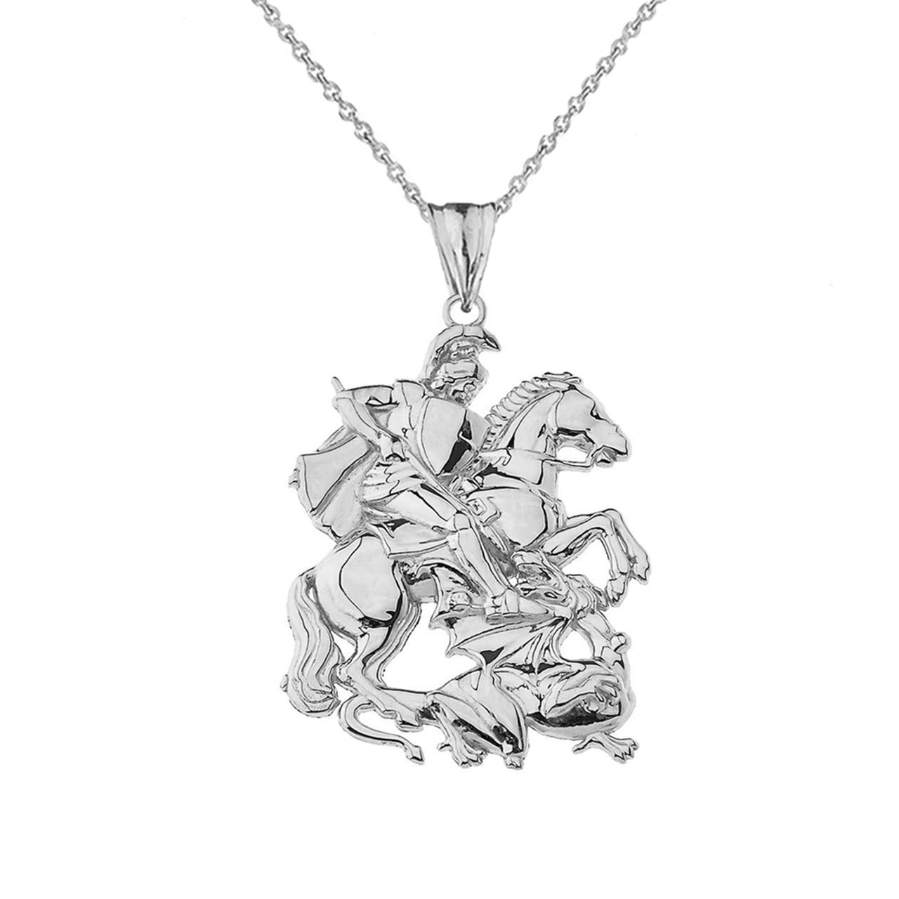 22 Certified Sterling Silver St George The Dragon Slayer Pendant Necklace