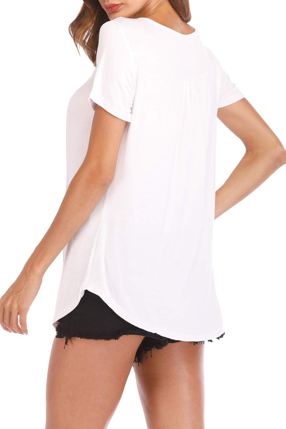 Fantastic Zone Womens Tops and Blouses Short Sleeve Tunics Plus Size Summer Shirts White XXL by Fantastic Zone (Image #5)