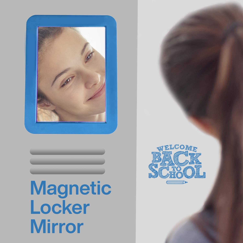 Shatterproof Personal Mirror Home ideal for School Locker Refregirator Infinite Locker Mirror 5 x 7 inch Blue Workshop or Office Cabinet