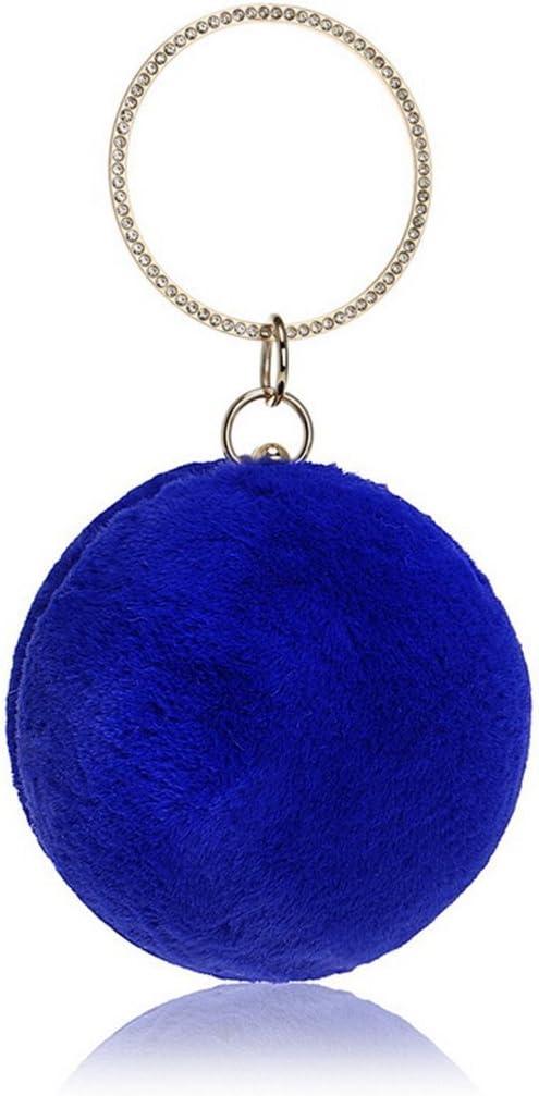 Color : Blue GHANDG Handbag Purse Womens Plush Round Ball Clutch Evening Purse Bag Shoulder Crossbody Clutch Bag