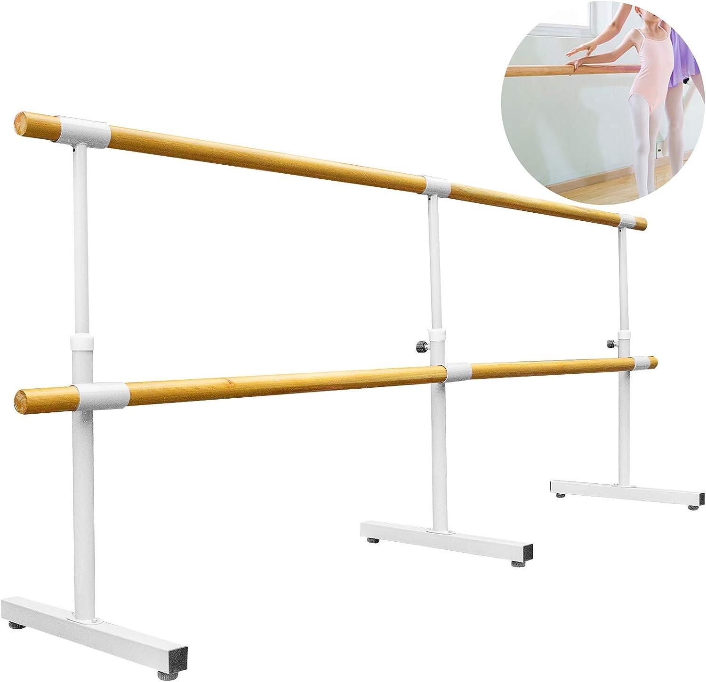 Yepsport Ballet Barre 10ft 66lb Freestanding Ballet Bar Portable Barre Bar,Height-Adjustable Ballet Barre,Portable Barre Ballet Bar for Home Dance Barre Fitness Ballet Bar,Double Bar White