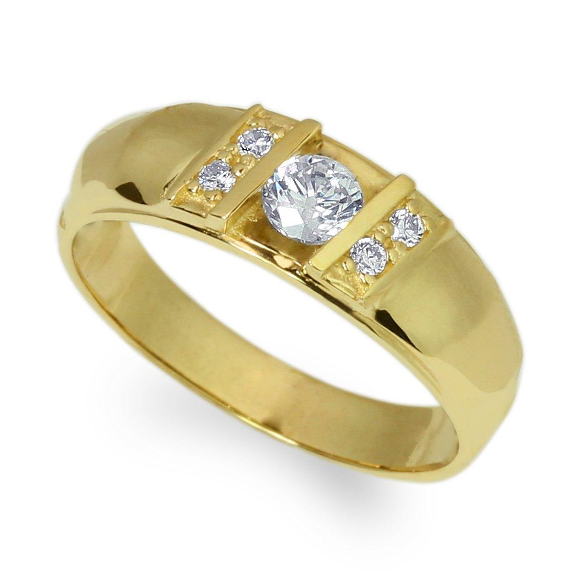 JamesJenny Mens 14K Yellow Gold Round CZ Unique Stylish Ring Size 7-12