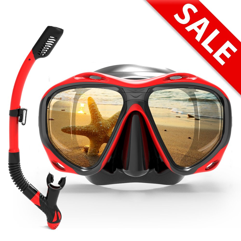 COPOZZ Snorkel Mask Set for Snorkeling Scuba Diving Freediving Swimming - for Adult Women Men Youth Swimmers - Dry Top Snorkel & Single Lens Mask/Goggles - with Mesh Gear/Equipment Bag by COPOZZ