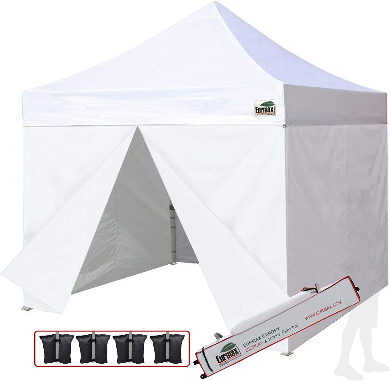 Eurmax 10×10 Ez Pop up Canopy, Commercial Party Canopies, Outdoor Shelter with 4 Zippered Sidewalls and Roller bag,Bonus 4 sandbags White