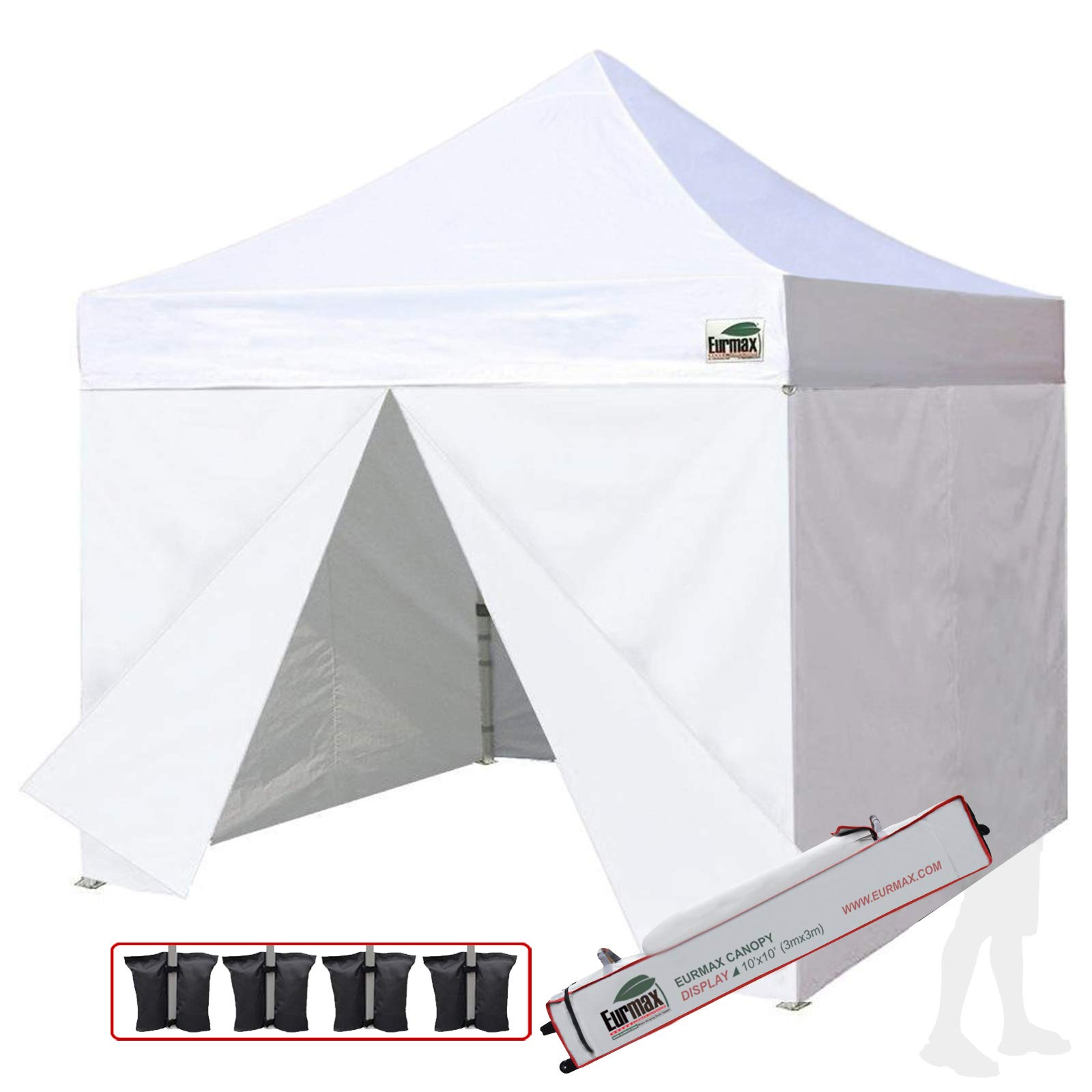 Eurmax 10x10 Ez Pop up Canopy, Commercial Party Canopies, Outdoor Shelter with 4 Zippered Sidewalls and Roller bag,Bonus 4 sandbags(White)