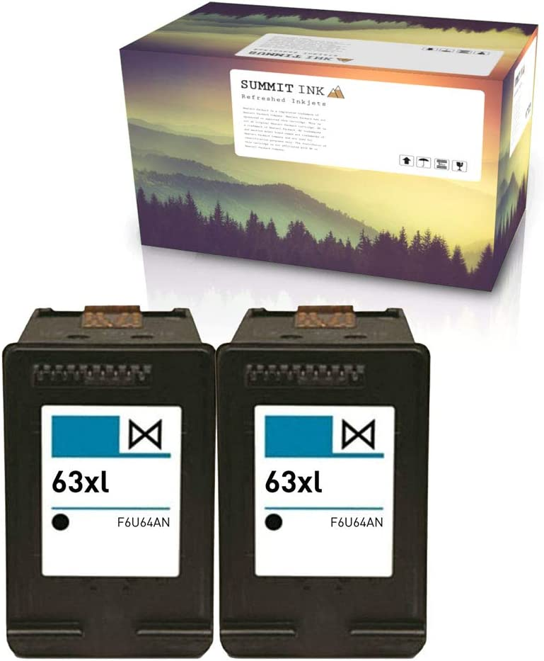 Summit Ink Remanufactured Ink Cartridge Replacement for HP 63XL Black 2 Pack for Deskjet 1112 2130 2132 3630 3632 3633 3634 3636 Envy 4512 4513 4520 4522 4523 OfficeJet 3830 3831 3833 4650 4652 4655