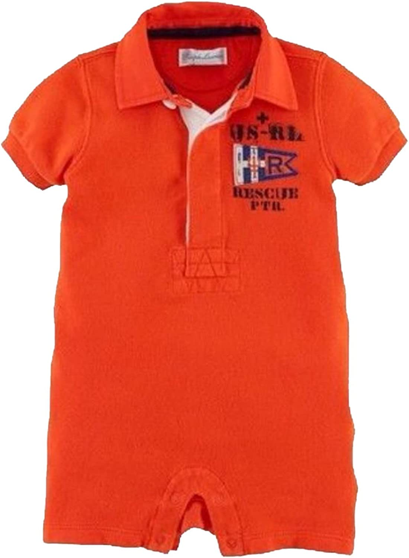 Ralph Lauren Baby Boy Rescue Patrol Shortall Romper Orange