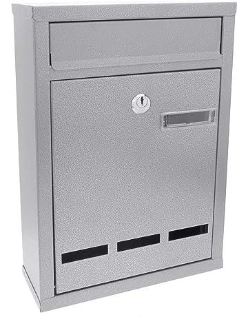 PrimeMatik - Buzón metálico para Cartas y Correo Postal de Color Gris 215 x 81 x