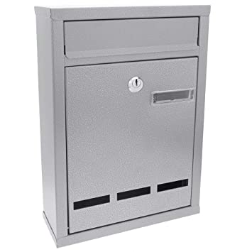 PrimeMatik - Buzón metálico para Cartas y Correo Postal de Color Gris 215 x 81 x 216 mm