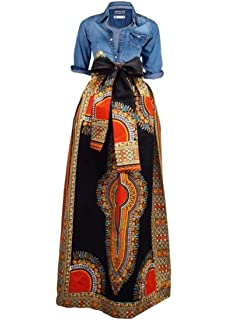 b3970dfc15 Niufaashion Womens African Print Dashiki Skirt High Waist Ball Gown Long  Maxi A Line Dresses