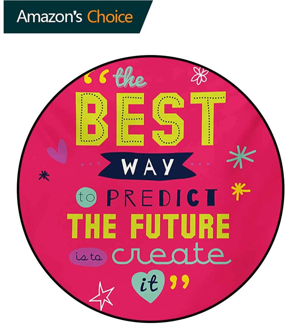 RUGSMAT Quotes Print Area Rug,Motivational Typography The Best Way to Predict Future is to Create It Perfect for Any Room,Floor Carpet,Diameter-71 Inch Dark Coral Multicolor