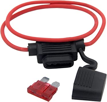 5Pcs Auto Car Mini In Line Blade Fuse Holder Waterproof 12V 30A Copper Wire US