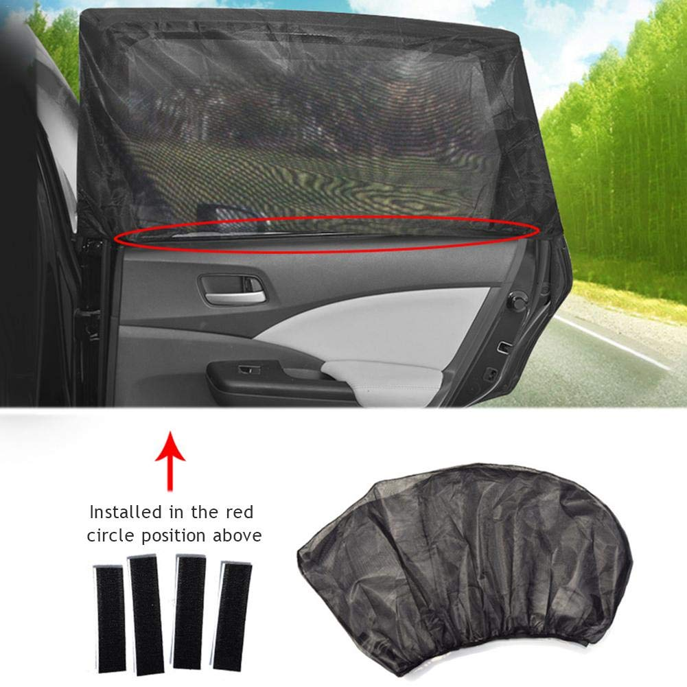 Mosquito Curtain for Child Baby Side Window Car Sun Shades 43.31x 19.69in UV Protection Car Anti 2 PCs Car Side Window Sunshade