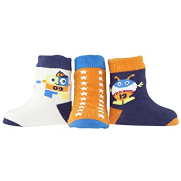 Elegant Baby Play Ball Boys Socks, Monster vs. Robot, 3 Pair