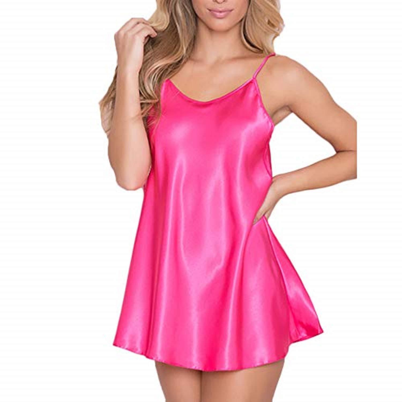 JFLYOU Womens Plus Size Lingerie for Sex Babydoll Nightwear Super Soft Nightegown(Hot Pink,L)